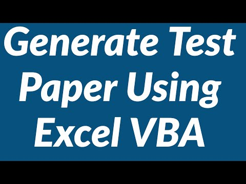 Generate Test Paper from Question Bank Using Excel VBA
