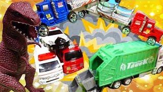 はたらくくるま ヒーローショー!合体して恐竜と戦おう! ごみ収集車 カーキャリアー キュウレンジャー 緊急車両 幼児 子供向け動画 乗り物 のりもの TOMICA TOY KIDS Vehicles thumbnail