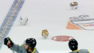 teammates toss helmets for kucherovs all star hat trick