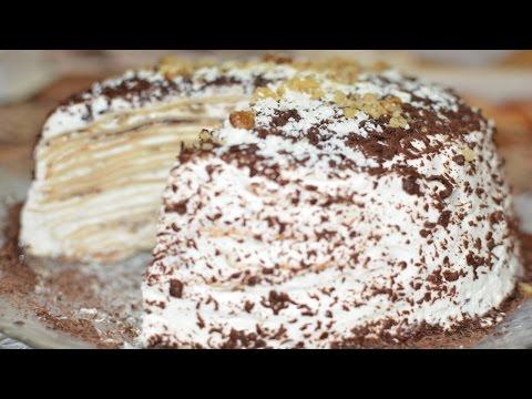 Сладкий блинный торт с творожно сметанным кремом рецепт с фото