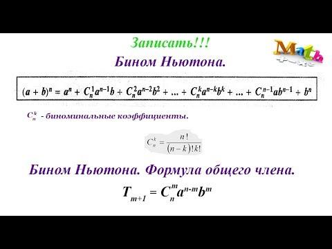 Урок 11. Бинома Ньютона. Формула общего члена. Алгебра 11 класс.