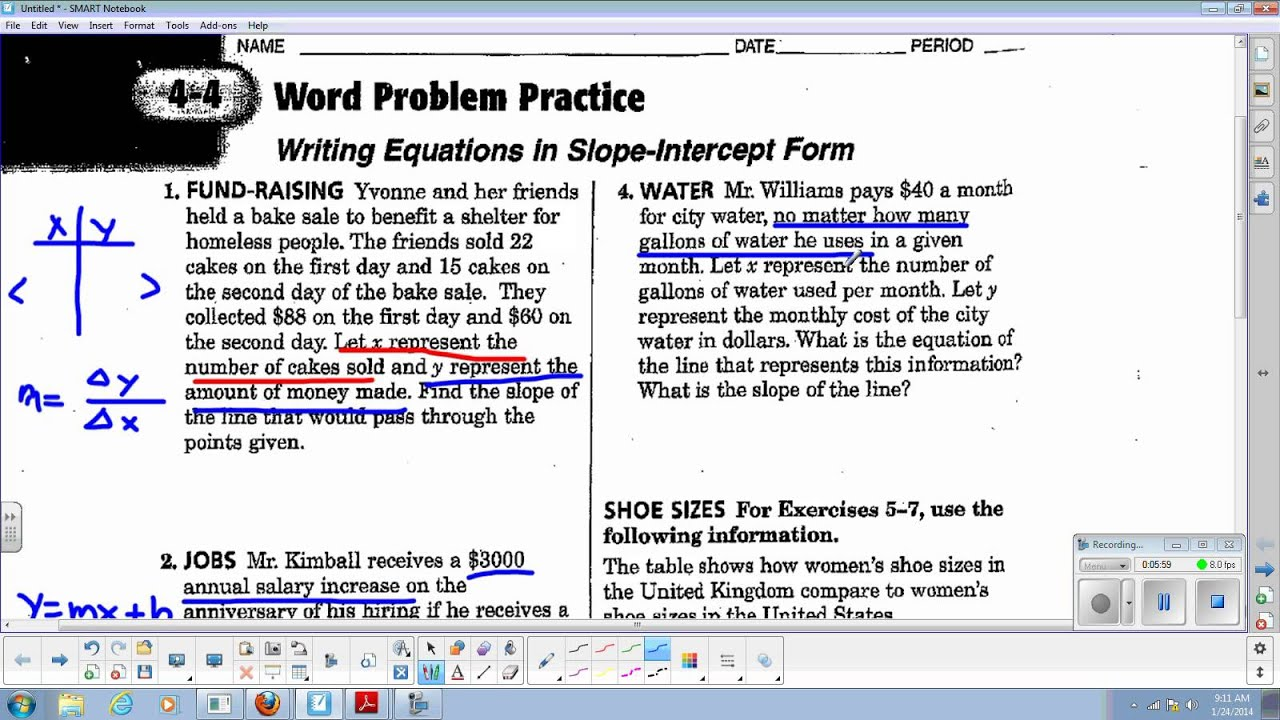Lin Alg 4 4 Word Problem Practice For Slope Intercept Form