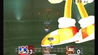 Brawl Hacks -  Giant Growing Sonic v.s. Donkey Kong and Diddy Kong