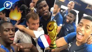 L'ambiance de feu dans le vestiaire des Bleus champions du Monde, le dab d'Emmanuel Macron