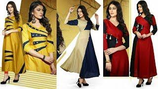 Designer Long Rayon Kurti | Stylish Fancy Embroidered Double Layer Kurti For women's | Trendy India1