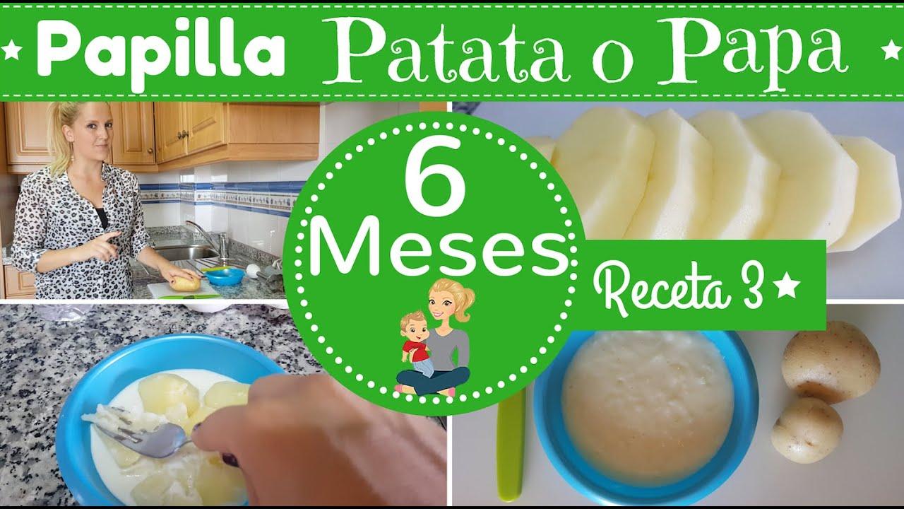 Receta 3 para bebe de 6 meses papilla de patatas o papa primeras recetas para mi bebe youtube - Papillas para bebes de 6 meses ...
