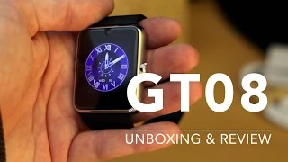 review unboxing of gt08 bluetooth apple smart watch clone with 3g from aliexpress gearbest