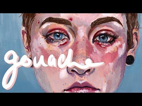 Detailed Gouache Painting Process // self portrait