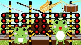 かえるの合唱ふみきり | Kids向け踏切電車アニメ thumbnail