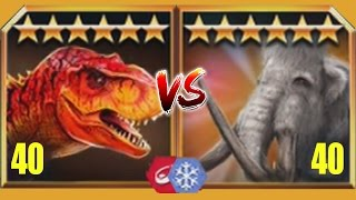 JURASSIC Vs CENOZOIC - TYRANNOSAURUS REX Vs WOOLLY MAMMOTH - Jurassic World The Game