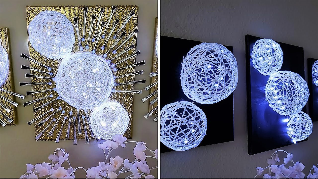 Diy 3d yarn wall decor easy home decorating idea 2019 - Decorating walls with pictures ...
