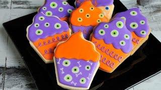 Monster Eyes And Bones Cupcake Cookies For Halloween, Haniela's