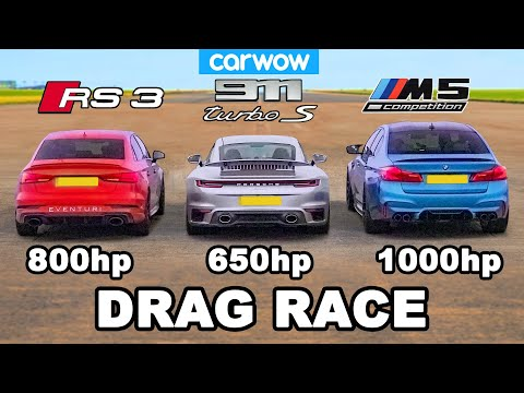 BMW M5 1,000hp v Audi RS3 800hp v Porsche 911 Turbo S – DRAG RACE