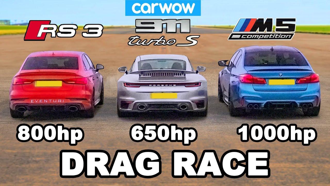 BMW M5 1000hp v Audi RS3 800hp v Porsche 911 Turbo S – DRAG RACE – carwow
