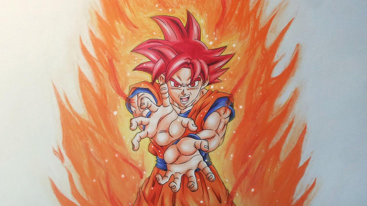 Drawing goku super saiyan god youtube - Goku super sayen ...