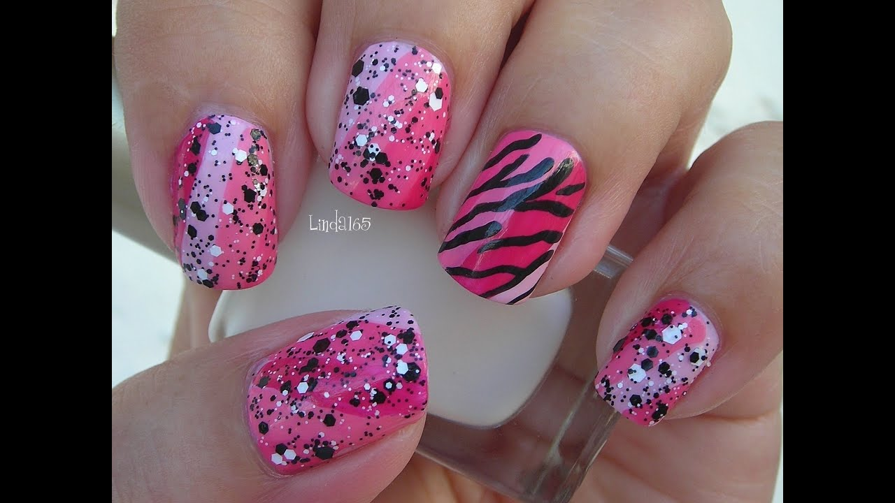 Nail Art October In Pink Funky Pink Zebra Decoracion
