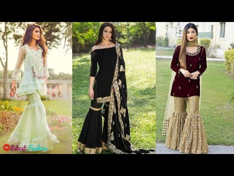 Latest Sharara Dress Designs For Girls(Pakistani Sharara Suits Collection) 2018-19