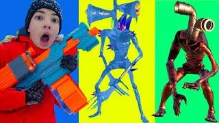 Nerf Game Огненно Ледяной и Трубо Пауко головые Vs Nerf Short Video #shorts