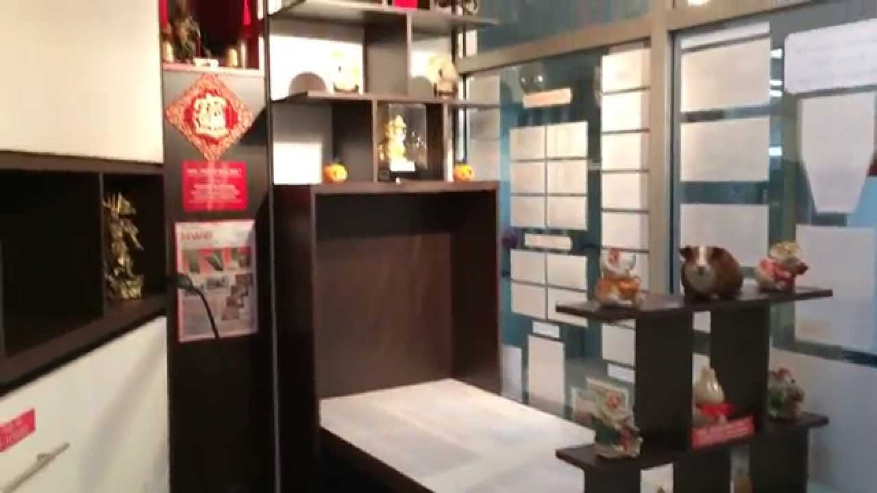HUB Showflat Showroom With Wall Bed Save Space. HWB HIDDEN DINING TABLE  +DISPLAY SHELVES.   YouTube