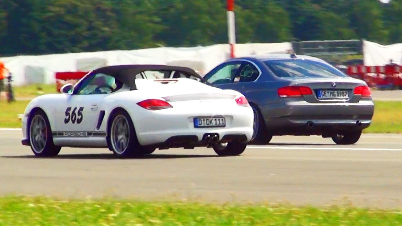 BMW 335i Coupe VS Porsche Boxster S Drag Race 1/4 Mile ...