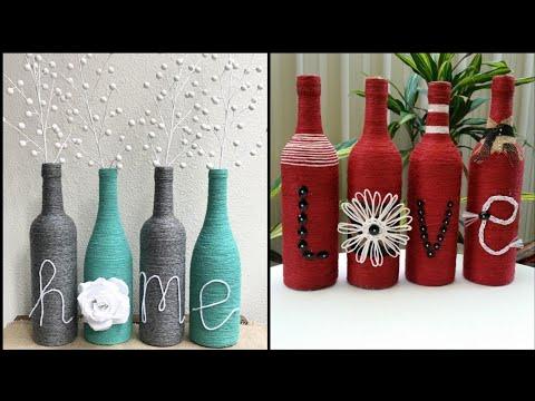 old-wine-bottle-jute-craft-ideas-for-home-decor---glass-bottle-decor-ideas---best-out-of-waste-ideas