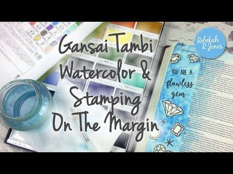Gansai Tambi Watercolor & Stamping On The Margin - Bible Art Journaling Challenge Week 35
