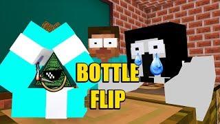 Monster School: BOTTLE FLIP VS (GRANNY+SLENDRINA+BALDI'S BASIC+ILLUMINATI)  - Minecraft Animation