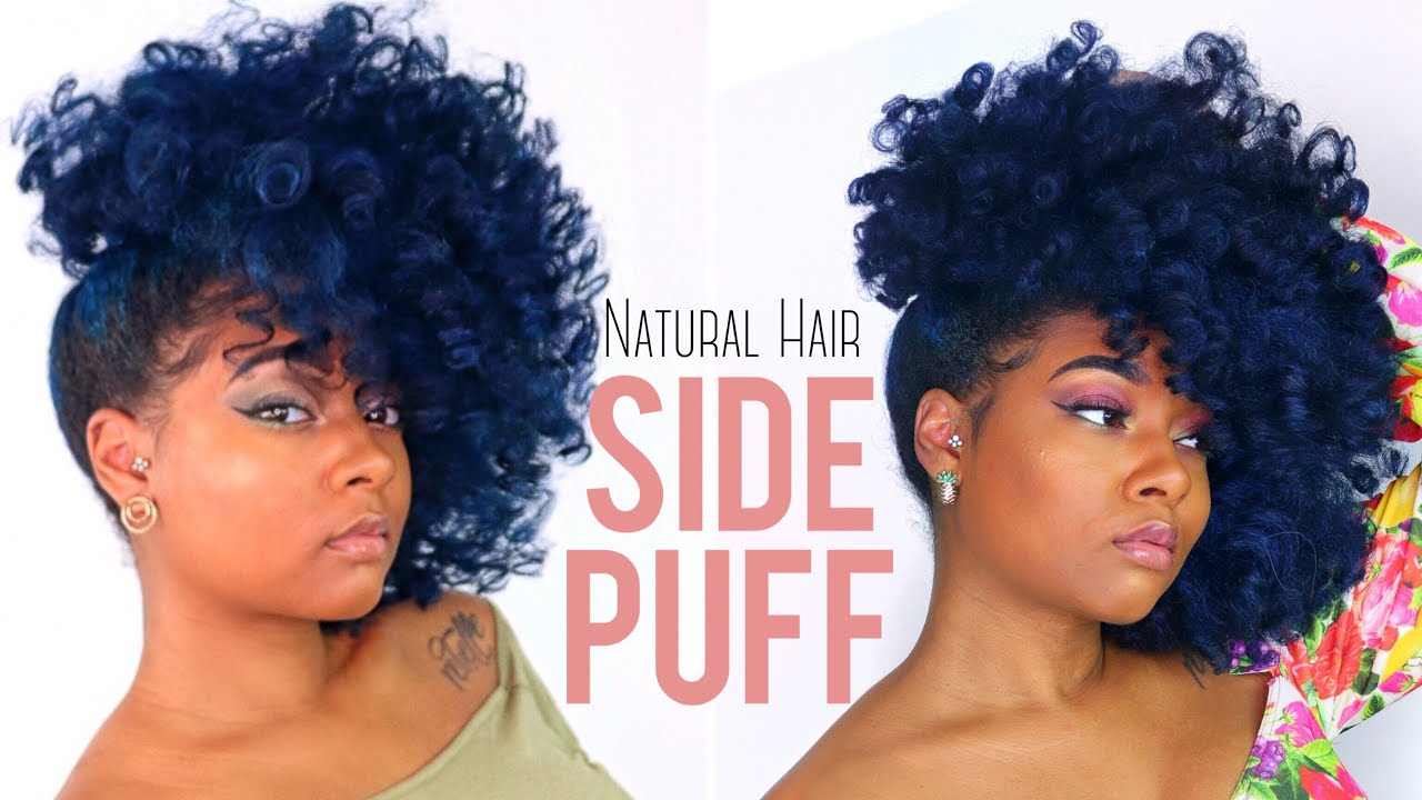 Natural Hair BIG Side Swept Puff Tutorial | Quick Pin Up Curly Hairstyle for Short/Medium Hair ...