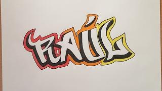 Cómo dibujar nombre Raúl estilo graffiti paso a paso - How to draw name Agustin