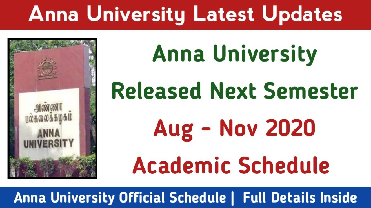 Academic Schedule for August November 2020 Semester | Anna University Latest News