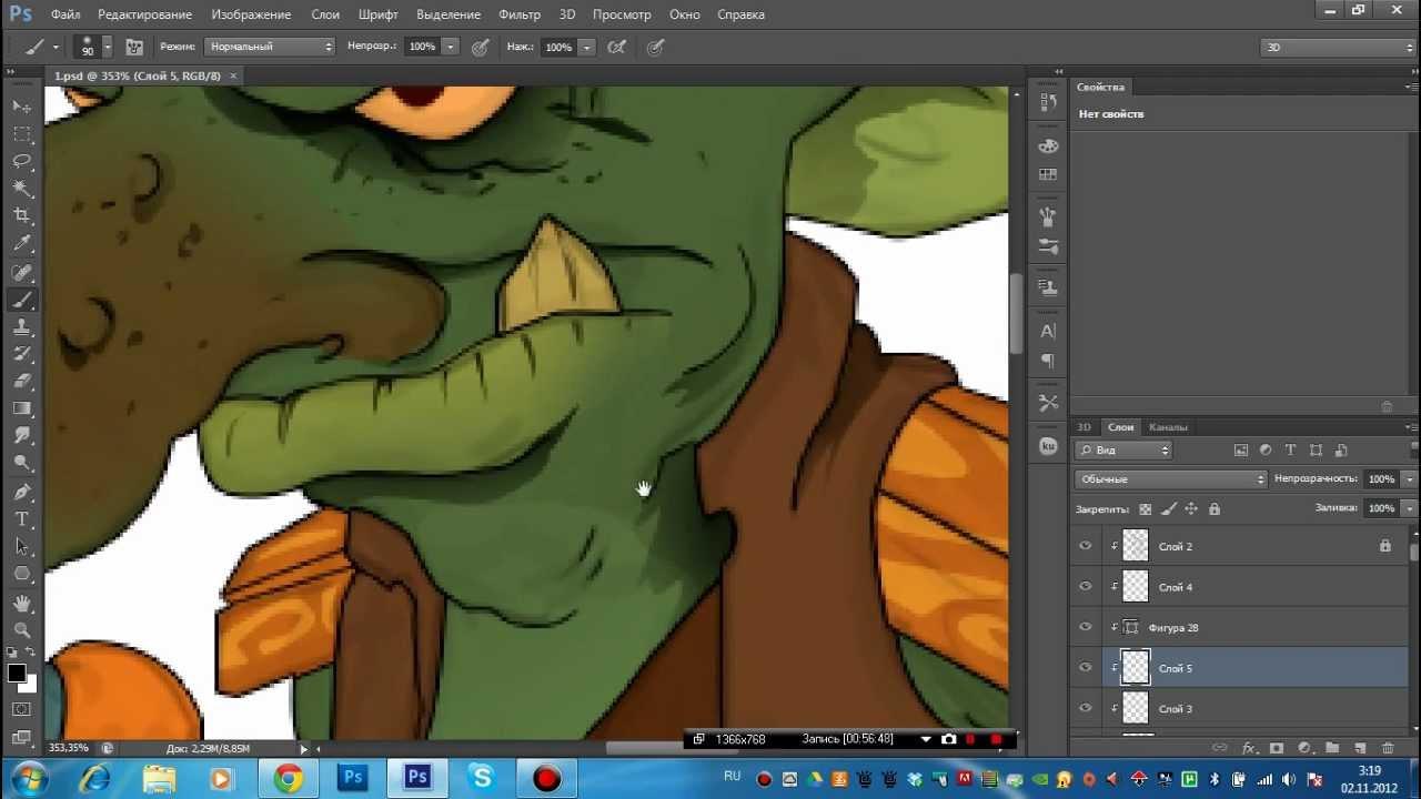 Видео урок рисование персонажа в photoshop cs6 вектор 3 часть