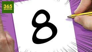 INCREIBLE TRUCO CON EL NUMERO 8 -  DIBUJO UN GUERRERO CON EL NUMERO 8