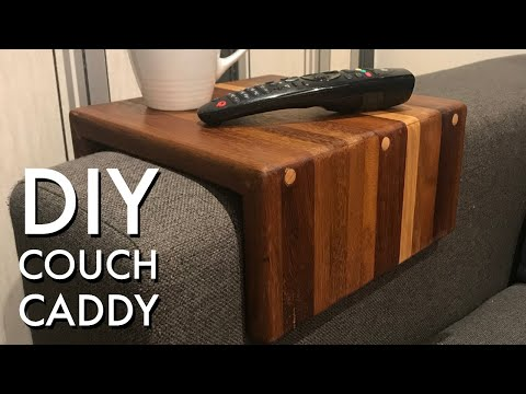 Hardwood Couch Caddy from a Reused Chopping Board - Quick DIY Gift Idea