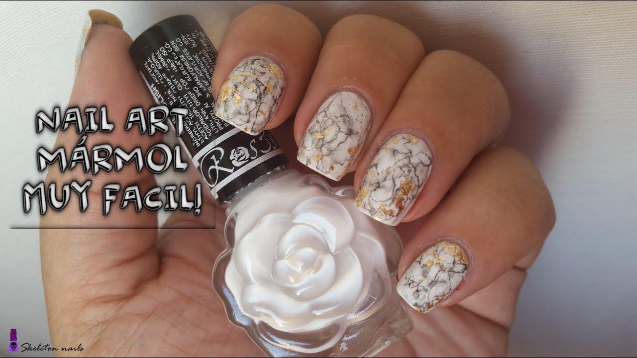 Nail art marmol facil/ Metodo Skeleton nails - YouTube