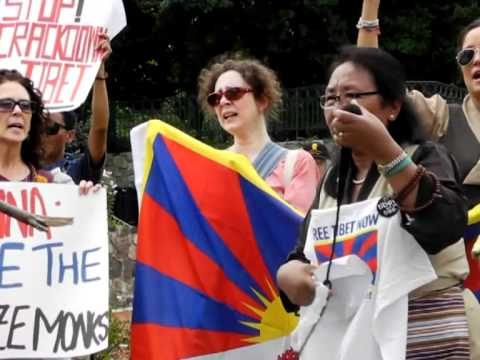 Tibetans protest outside China embassy in Washington