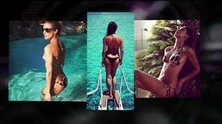 Elisabetta Canalis Shows Off Bikini Body While Poolside - Splash News