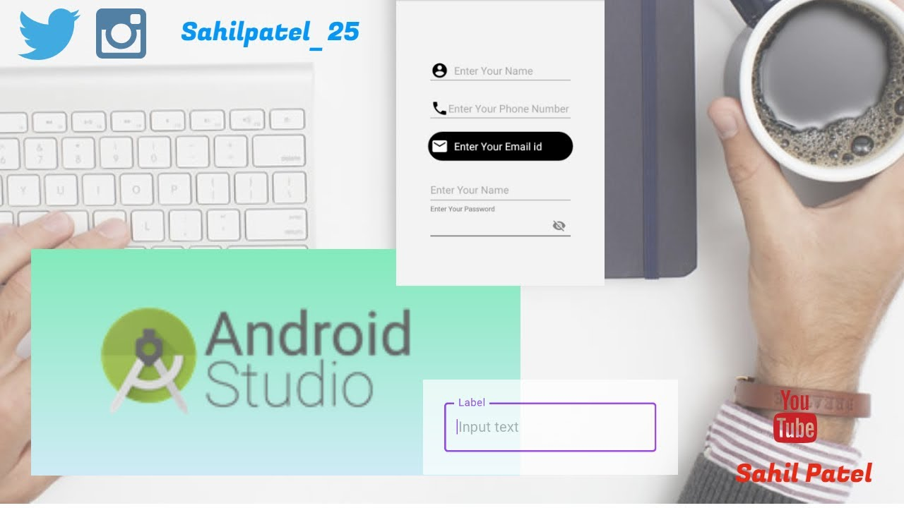 How to create Custom Edit text in android studio and how to enable password  in edittext