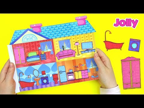 PAPER DOLLHOUSE DIY BEDROOM, LIVINGROOM, KITCHEN AND BATHROOM FOR QUIET BOOK