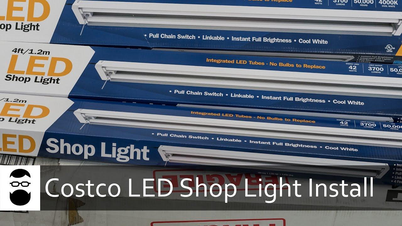 Costco LED Shop Light Install - YouTube