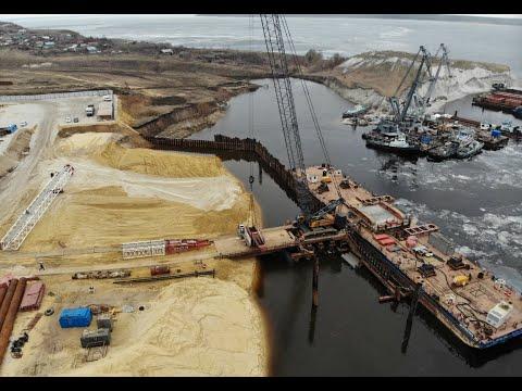 Строительство моста через Волгу / март 2020 /с.Климовка - Шигонский р-он / Тольятти / Russia