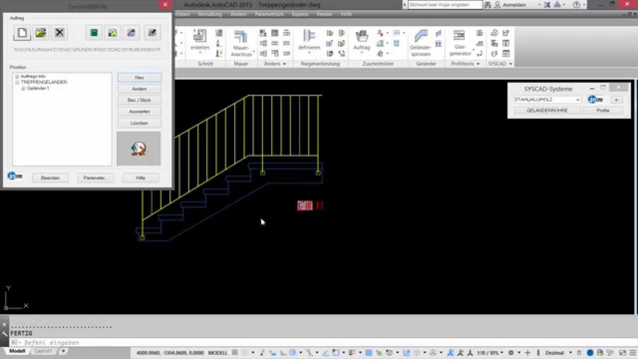 Download CAD-Tutorial Nr. 10 | PFICAD: Erstellung Treppengeländer mit SYSCAD SG.