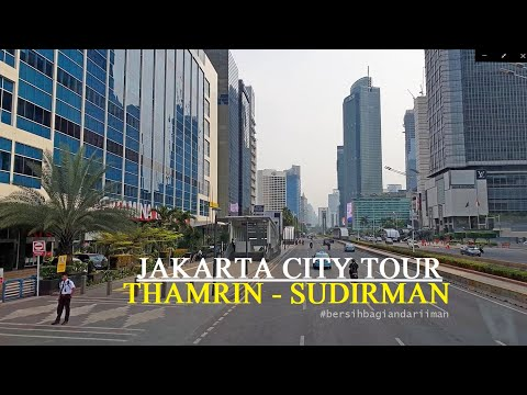 Jakarta City Tour by double decker Bus ~ Cabin View ~ Thamrin - Sudirman ~ Walking Around
