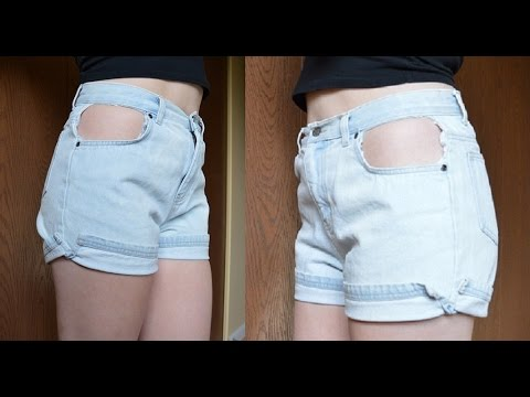 diy cut out pocket shorts youtube