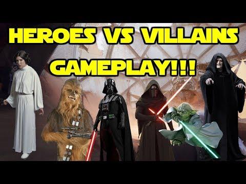 Star Wars Battlefront 2 - Heroes vs Villains Gameplay! ALL Heroes! Kylo Ren, Darth Vader, Yoda!