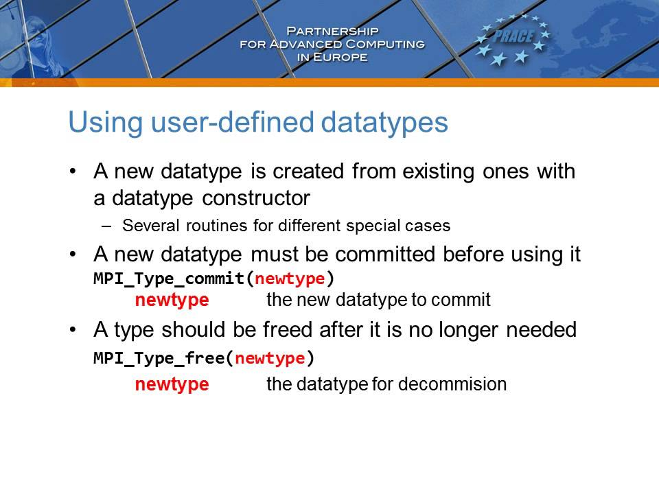 PRACE Video Tutorial - User Defined Datatypes in MPI