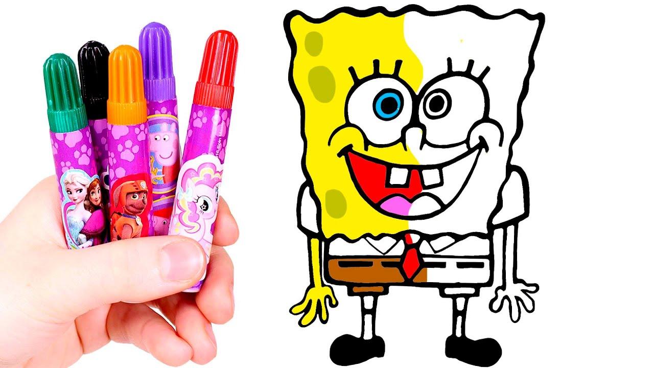 Dibuja Y Colorea A Bob Esponja Dibujos Para Niños Youtube