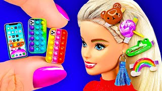 28 DIY Miniature Crafts for Dollhouse - Pop It Phone Cases, Hairpins, Boots and more Barbie hacks