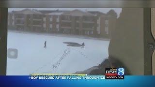 Man saves boy who fell through ice