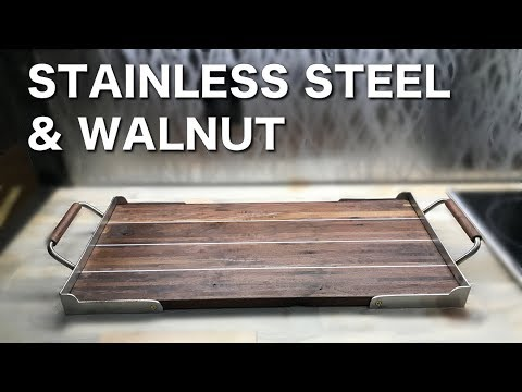 Handmade Walnut and Stainless Steel Serving Tray - Featuring DIY Metal Bender