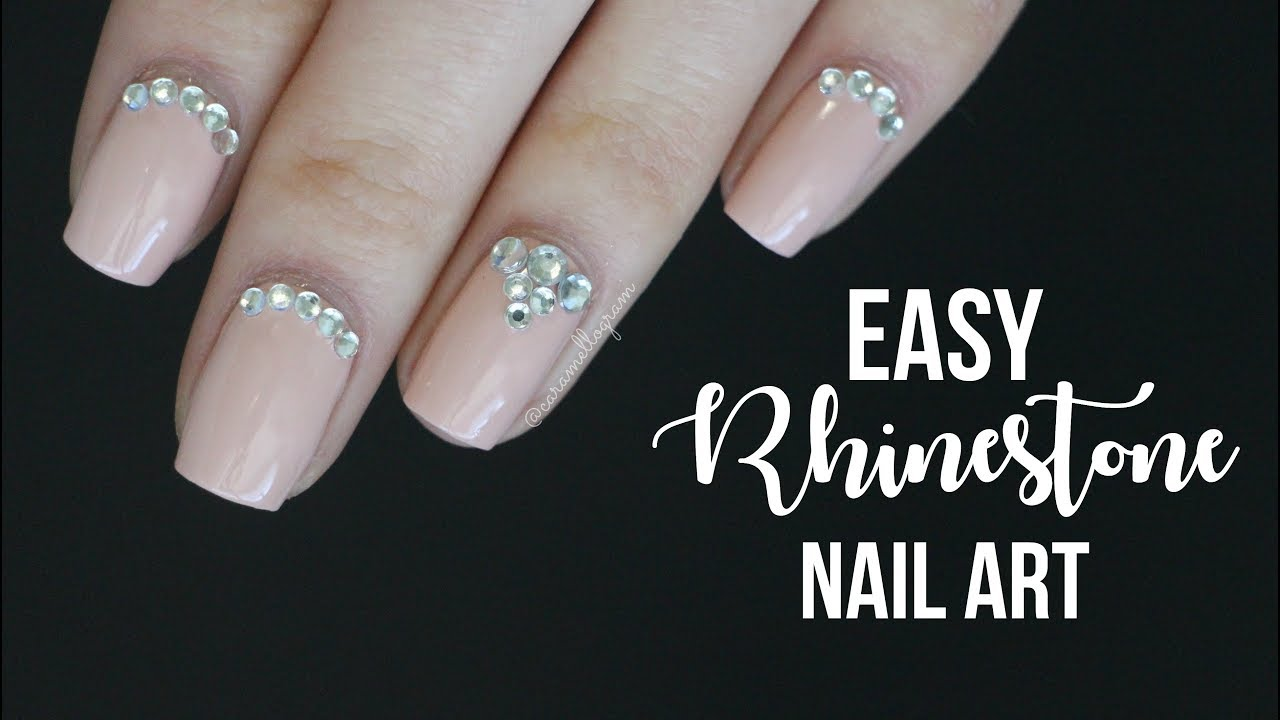 Easy Rhinestone Nail Art Formal Nail Art Caramellogram Youtube